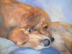"""14 x 18x1.5"""" Dog Painting Pet Portrait Original Golden Retriever Impressionist Handmade No Frame Required. When my cousin, Susan, took this loving image of her beloved dogs, I knew it would be a perfect painting. She was kind enough to allow me to use her image, so I went to work. I think this pose speaks for itself. These gentle animals are soul mates. I painted in oil on 14x18x1.5"""" gallery wrap canvas which gives you the option to hang it with or without a frame. 14x18"""" frames are a..."""