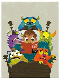 illustration of monsters, boy, story, book, bed time, children, child
