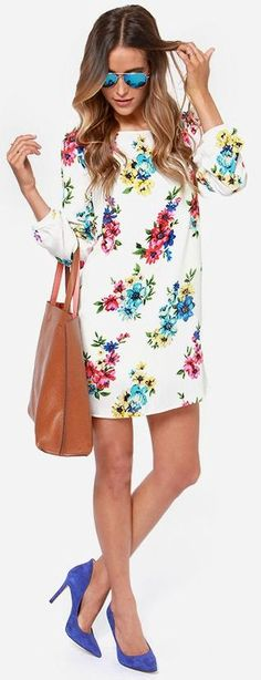 Floral Printed Dress with Leather Bag and Blue Pum...
