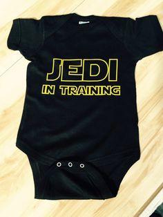 Jedi In Training Black Baby Boy Star Wars Onesie by QTattoos