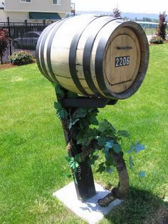 Wine Barrel Mailbox. Cool saturday task for you and your husband. together in the garden...