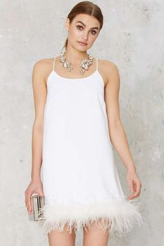 Time After Time Feather Trim Mini Dress - Party Shop