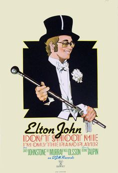 "ELTON JOHN - DON'T SHOOT ME I'M ONLY THE PIANO PLAYER, 1972.   Original DJM promo poster, 30""x20"".   Design by Michael Ross.     The album was released in early 1973, but this superb poster is dated 1972 and may conceivably feature the originally intended cover art. The signature cannot so far be deciphered.     Vintage Elton John posters from the classic early albums are very scarce.   But one hangs in my room!!"
