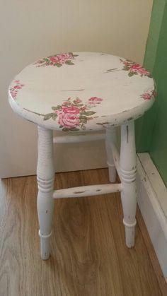 Shabby chic kitchen stool. Was plain pine. White chalk, distressed, waxed and decoupaged. Pretty. #rusticshabbychickitchen