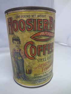 Vintage Hoosier Boy 1916 Coffee Tin Can Advertising Paper Lable 945 V | eBay