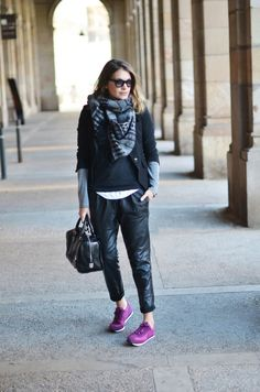 paris2london:    (via WHERE ARE WE NOW? | My Daily Style en stylelovely.com)    purple sneaks!