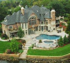 ~ Yvonne Amazing_Lake_Home_Mansion_Beautiful_Villa_Pool_Castle_Backyard Future House, My House, Castle House, Big Houses, Dream Houses, Foyers, House Goals, Dream Decor, My Dream Home