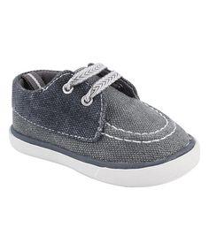 Baby Deer Gray & Navy Boat Shoe | zulily