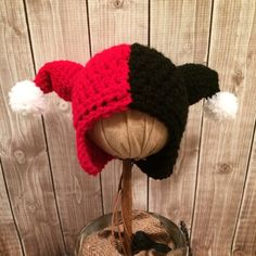 Harley Quinn Inspired Hat by CrowberryCrochet on Etsy, $16.00