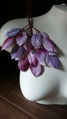 Velvet Leaves in Purple tones for Bridal, Boutonierres, Bouquets, Millinery ML 8