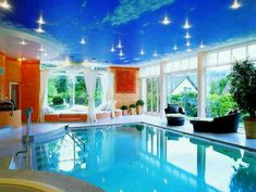 Indoor swimming pool & lounge area..