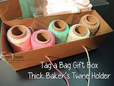 Baker's Twine holder project featuring Tag a Bag Gift Boxes. Video tutorial by Patty Bennett. Project idea by Nancy Baladad. #stampinup #bakerstwine #luv2stampgroup