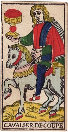 Knight of Cups:   Upright: Arrival,  Advance,approach--sometimes that of a messenger; advances, proposition, demeanor, invitation, incitement,A visit from a friend, who will bring unexpected money.    Reversed:  Duplicity, Abuse of Confidence, Fraud, Cunning,Trickery, artifice, subtlety, swindling, duplicity,Irregularity.  Source:  The Tarot of Marseille by Nicolas Conver, 1760 card interpretations by S.L. MacGregor Mathers, published in 1888.