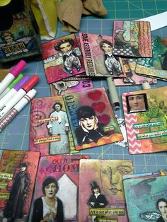 ACEO / ATC - Original pinner sez: Altered playing cards made using technique learned when I took The Spoken Soul class by Mary Jane Chadbourne on Artful Gathering Atc Cards, Card Tags, Art Journal Pages, Art Journals, Playing Cards Art, Altered Art, Altered Tins, Altered Books, Art Trading Cards