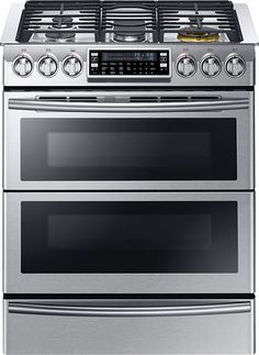 Samsung - Chef Collection 5.8 Cu. Ft. Self-Cleaning Slide-In Double Oven Dual Fuel Convection Range - Stainless Steel - Larger Front