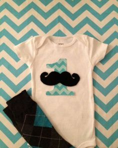 1st Birthday Boy Outfit with Mustache Onesie by LittleGuySkinnyTie, $28.00