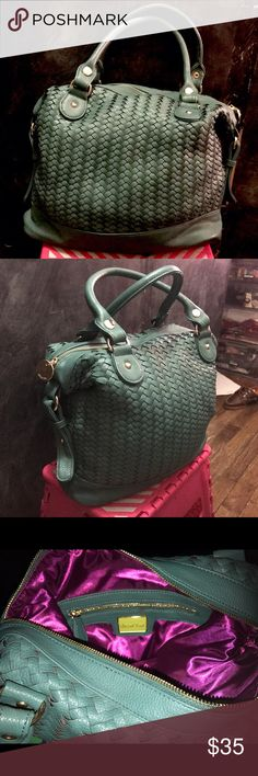 "Duel Lux Woven Green Bag This woven bag is large, spacious, has a bottega veneta feel, it Forest green color, new, never worn, not from brand listed, faux leather width: 13"" height: 12"" depth: 5"" with long strap Zara Bags Satchels"