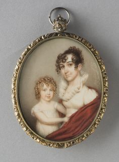 Curly hair for the mother and her son. Portrait of a Mother and Son Made in United States Artist: Nathaniel Rogers (American, watercolor on ivory Philadelphia Museum of Art Miniature Paintings, Miniature Portraits, 1800s Fashion, Philadelphia Museum Of Art, Empire Style, Mother And Child, Family Portraits, Empire Fashion, Regency Era