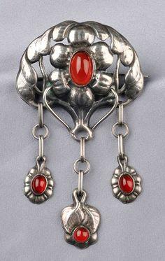 Antique Art Nouveau garnet glass original box vintage Scandinavian Danish Skonvirke pin ruby red Denmark jewelry 826 silver bar brooch