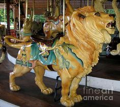 Antique Dentzel Menagerie Carousel Lion ...  This gorgeous hand-carved carousel lion is found on the 1905 Dentzel Menagerie Carousel at Ontario Beach Park in Rochester, New York.