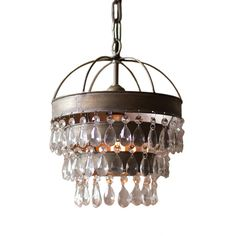Rustic Industrial Crystal Pendant Light Loft Vintage Chandelier
