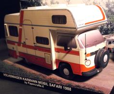 Volkswagen T2 Karmann  Mobil Safari Front The first Karmann motor homes were launched in 1974 based on the Volkswagen Type 2/T2 chassis. The bodies were of a sandwich structure. These motor home  had two beds, kitchen, water tank, shower, toilet, hot water heater and gas heating. Papercraft scale 1:35.