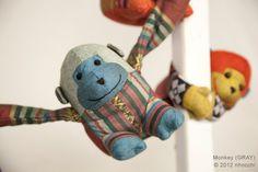 KIDS TOY gift Stuffed animal MONKEY (Gray)  long arm playful swinging hanging connecting monkey by Nhocchi. $20.00, via Etsy.