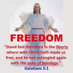 "FREEDOM  ""Stand fast therefore in the liberty where with Christ hath made us free, and be not entangled again with the yoke of bondage.""                                                                                  Galatians 5:1  VOTE LIKEWISE!"