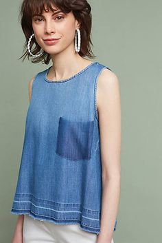 Shop Anthropologie's curated collection of Jeans, brimming with new arrivals & timeless classics. Denim Fashion, Womens Fashion, Denim Ideas, Recycle Jeans, Denim Top, Blue Denim, Washed Denim, Refashion, Tank Tops