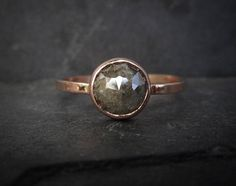 Raw Diamond Engagement Ring Unique Rose Cut Diamond Ring 14k