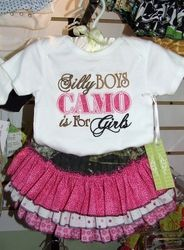 Silly Boys Camo is for Girls Onesy & Ruffle Bottoms 2 Pc Set **FREE SHIPPING**