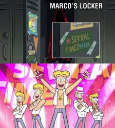 Lol Marco Diaz why you watchin' sev'ral timez. He should probably get along pretty well with Mabel Pines :DDD | Star vs the forces of evil-Marco's locker