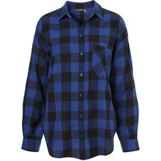 Oversized Check Shirt ($30) ❤ liked on Polyvore featuring tops, blouses, shirts, blue, checkered shirt, blue blouse, blue shirt, blue checkered shirt and cotton blouses