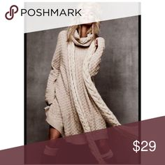 💗H&M beige Oversized Cable Knit Sweater Dress Size XL  (size tag was removed). Coal neckline. Acrylic, wool. EIC  💟Fast 1-2 day shipping 💟Reasonable offers accepted 💟Purchase 3 or more items & get a special bundle rate!  💟Smoke-free home H&M Dresses