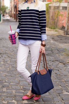 Hadn't thought of putting a chambray shirt under my J'taime sweater and pairing with my white jeans, but I like this!