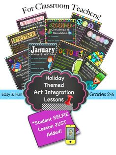 """An entire year of art integration lessons for classroom teachers! ***My popular """"Selfies with writing prompts"""" lesson just added***"""