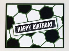Soccer birthday card made using the hexagon punch.  By Kendra, Stampin' Up! Demonstrator