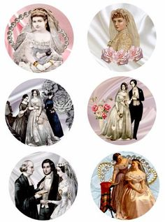 "Victorian brides clip art collage sheet 3.5"" x 3.5"" circles silk fabric pearls digital download graphics image wedding craft printables"