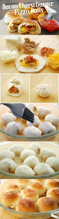 Bacon Cheeseburger Pizza Balls - Atıştırmalıklar - Las recetas más prácticas y fáciles Think Food, I Love Food, Good Food, Yummy Food, Bacon Cheeseburger Pizza, Cheeseburger Casserole, Bacon Pizza, Cheeseburger Recipe, Pizza Ball