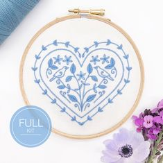 Wooden Embroidery Hoops, Cute Embroidery, Modern Embroidery, Embroidery Thread, Rebecca Jenkins, Lazy Daisy Stitch, Running Stitch, Sewing Kit, Satin Stitch