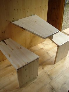 HomeBox includes many wooden inbuilt features such as the kitchen table and chairs