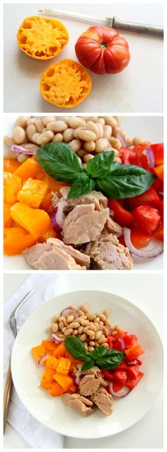 Tuna Tomato Bean Basil Summer Salad: A classic, simple salad that shows off succulent summer tomatoes and herbaceous basil in cahoots with nutritious tuna and beans. Use a mixture of various colored heirloom tomatoes for the prettiest salad.