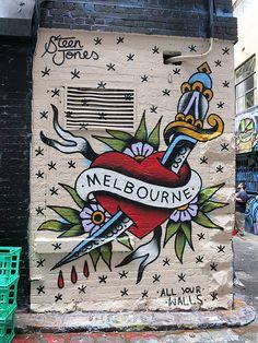 Mural by Steen Jones, Hosier Lane, Melbourne, Australia Murals Street Art, Street Art Graffiti, Working Holiday Visa, Working Holidays, Australia Country, Melbourne Australia, Street Art Melbourne, Melbourne Time, Visit Melbourne