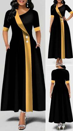 Asymmetric Neck Button Detail Pocket Maxi Dress HOT SALES beautiful dresses, pretty dresses, h Long African Dresses, Latest African Fashion Dresses, African Print Fashion, African American Fashion, Ankara Fashion, Women's Fashion Dresses, Elegant Dresses, Pretty Dresses, Beautiful Dress Designs