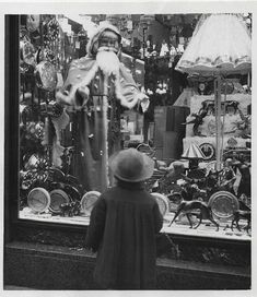 Vintage 1956 Little Girl Looks Window w Christmas Display Classic Iconic Photo