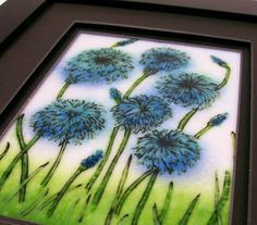 Fused Glass Painting Bachelor Buttons by CDChilds on Etsy