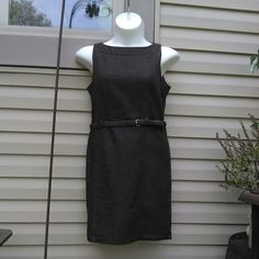 """Linen Look Heather Brown Shift Dress Classic clean lines. Includes woven belt. Has tweedy look but is soft. 3/4 back zipper.  Measured flat 19"""" across bust. 17"""" across waist. Mani is 36"""" x 31"""" x 36"""" 36"""" long. Cotton, poly, spandex blend. AGB Dresses"""