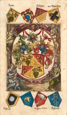 """«Sammelband über die Schlacht von Sempach», by Heinrich Bullinger [1504-1575] [Auszüge aus """"Von den edlen graven zuo Habspurg"""", """"Von den Tigurineren"""", Liste Stifter Kloster Königsfelden, Jahrzeitbuch Uster, [S.l.], [16--] [Zentralbibliothek Zürich, Ms L 94] -- Wappen: Zoller, ??, Escher, von Mellenberg - Schmid, ??, Meyer von ?Kronow, Schärer (f°2r) -- http://dx.doi.org/10.7891/e-manuscripta-107"""