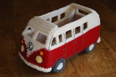 Just finished crocheting wheels, lights and bumpers for my campervan.  Now need to add an interior and a family of happy travelers!