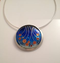 Cloisonne Enamel Necklace set in Sterling by AmandaLloydDesigns